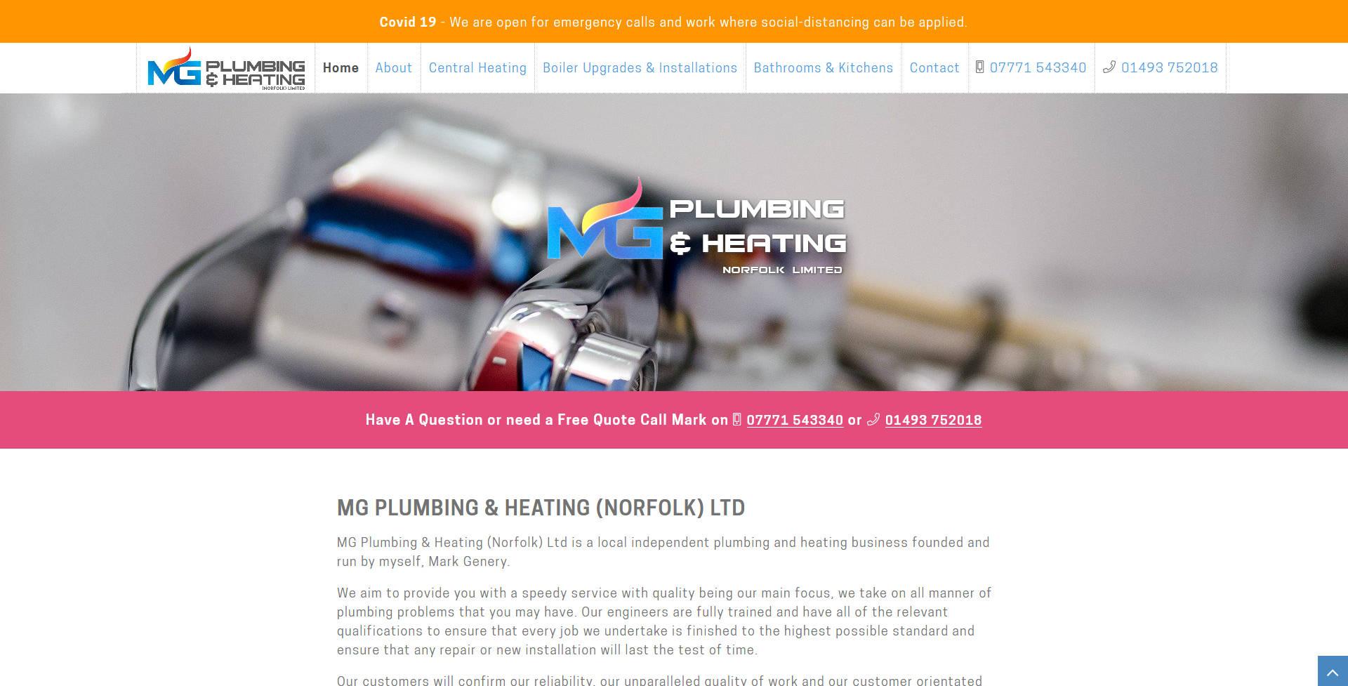 MG Plumbing & Heating Ltd website frontpage