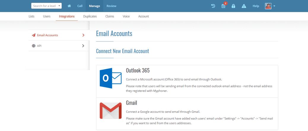 Connect email accounts