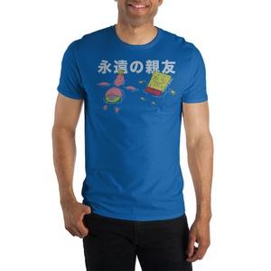 SpongeBob SquarePants Kanji Text Crew Neck Short Sleeve T shirt