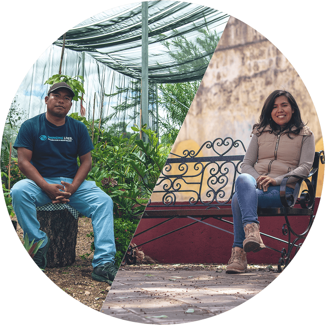 a split circle - in the upper left, enoc sits on a tree stump in his greenhouse; in the lower right, estrella sits on a bench near the xochimilco aqueduct