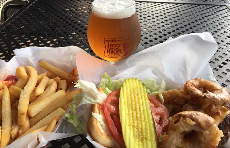 Burger, fries and beer
