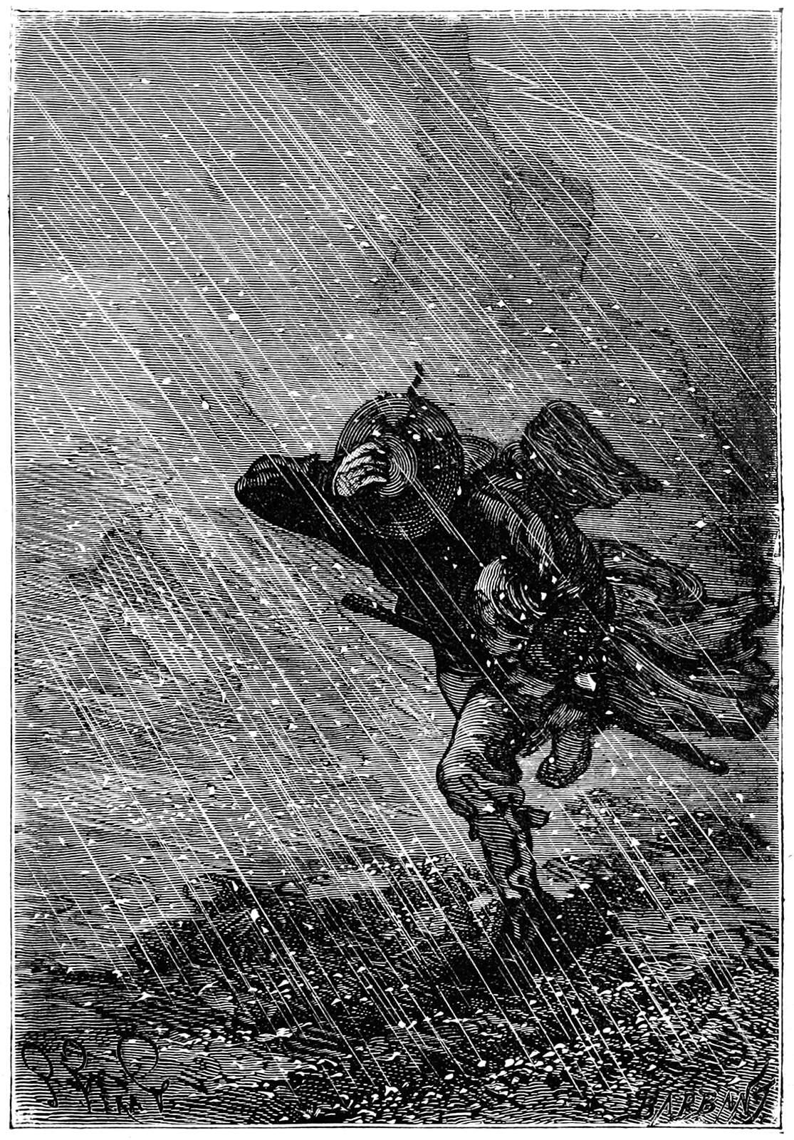 A person walks into a storm