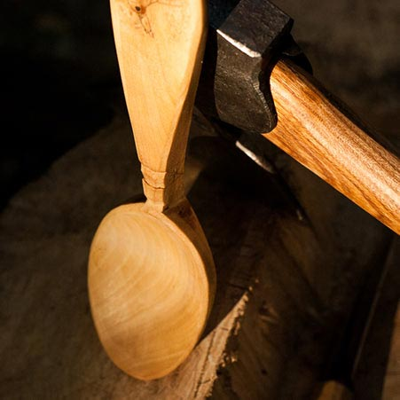 photo of a spoon with axe