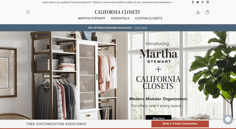 California Closet's Shopify Website Homepage
