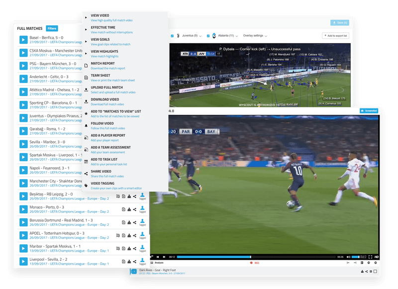 Wyscout product shots including video library, match scores and video tagging
