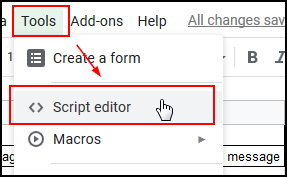 Select Tools and then Script Editor