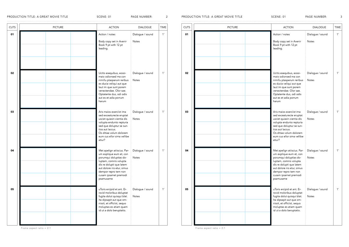 InDesign anime storyboard template 2:1 Avenir Book on A4 vertical