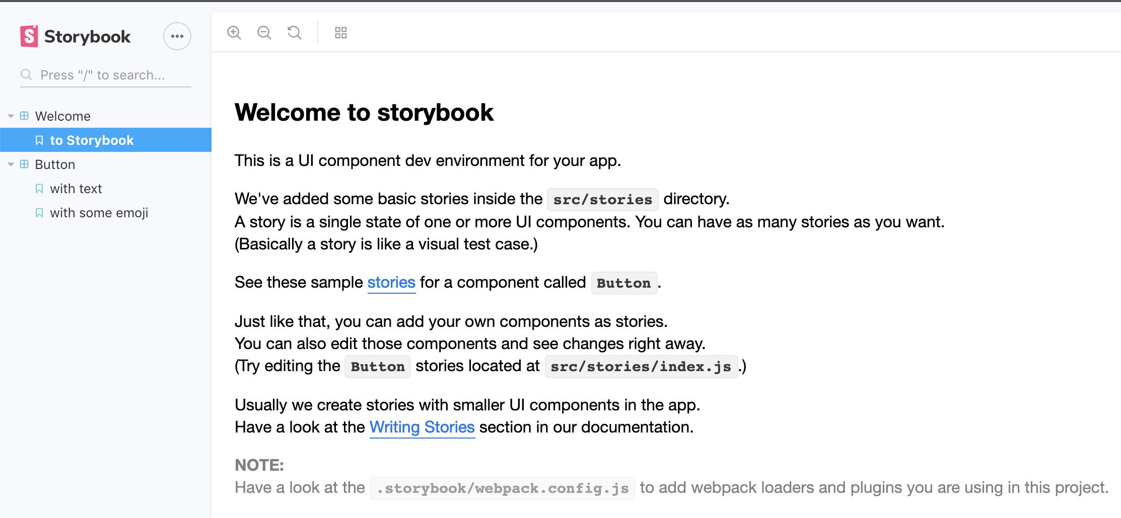 Storybook Homepage