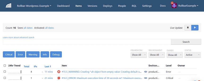 Screenshot of Rollbar WordPress error item