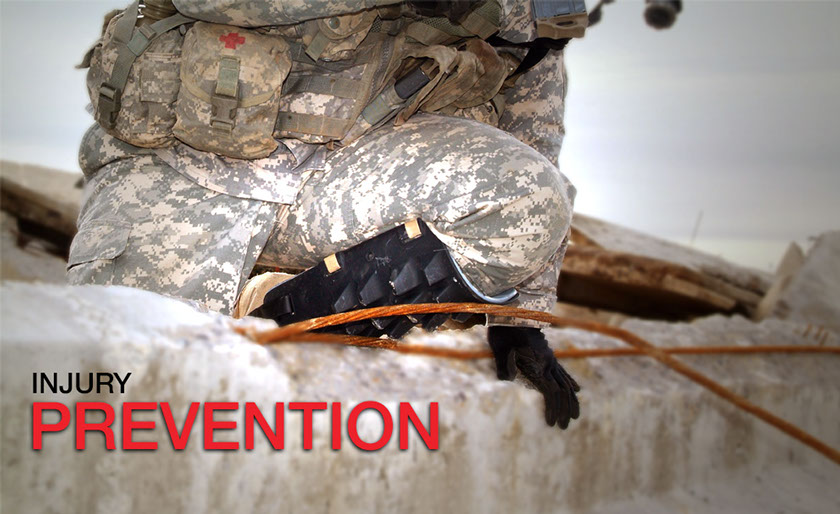"""The Exoskel shin guard helping a soldier in uniform scale a combat-damaged wall. The image has inset text advertising its """"injury prevention."""""""