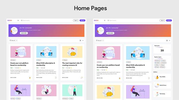 Dashi Ghost Theme Home Pages