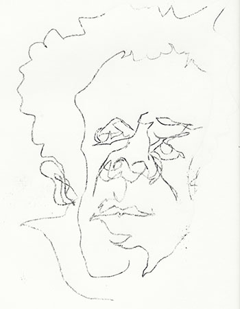 Charcoal blind contour of Belflower's face
