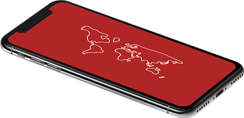 Apple iPhone displaying a map of the world