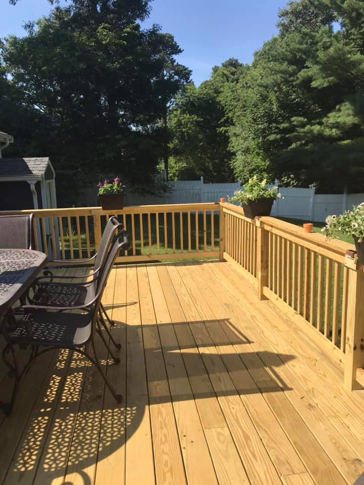 5-star review on Facebook for deck construction by MDH Construction Plymouth, MA