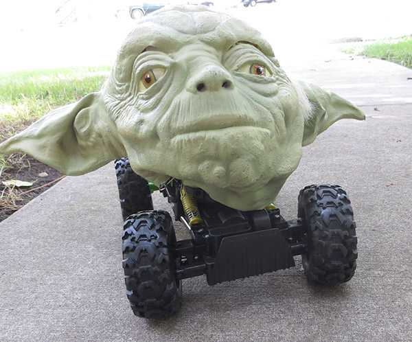 Yoda Attached to a Remote Control Car