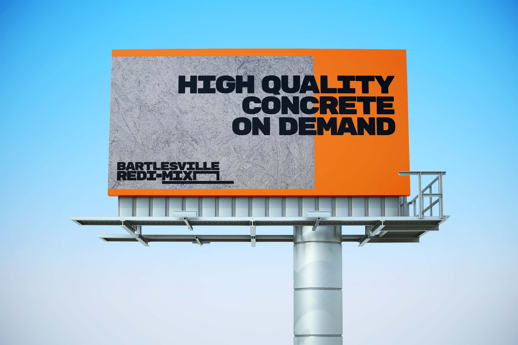 An orange billboard with a wide lockup of the Bartlesville Redi-Mix logo concept