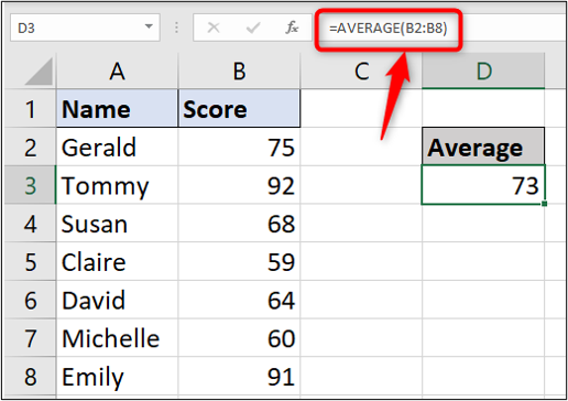A simple Excel spreadsheet containing data for student names and test scores. In this instance, the user has typed out the average function manually in the toolbar