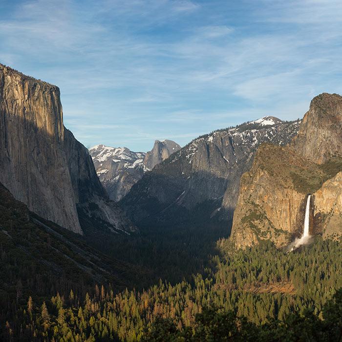 Yosemite Valley, CA. L-R: To-tock-ah-noo-la (El Capitan), Tis-sa-ack (Half Dome), Pohono (Bridalveil Fall)
