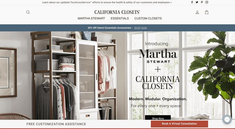 California Closet's Shopify Website Homepage