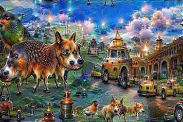 deepdream animals, buildings, cars