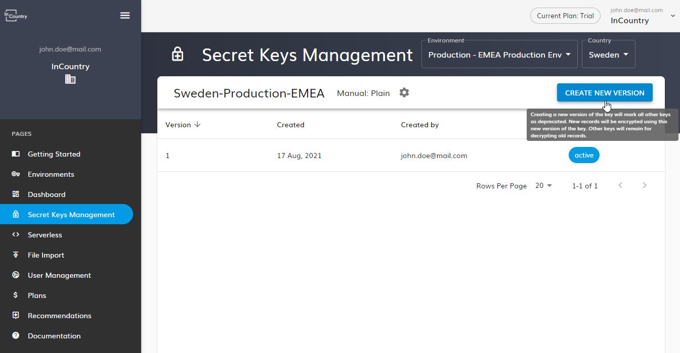 Creating new version of plain key