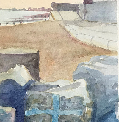 watercolour painting of view along Sandgate beach with blue cross painted on rock in foreground