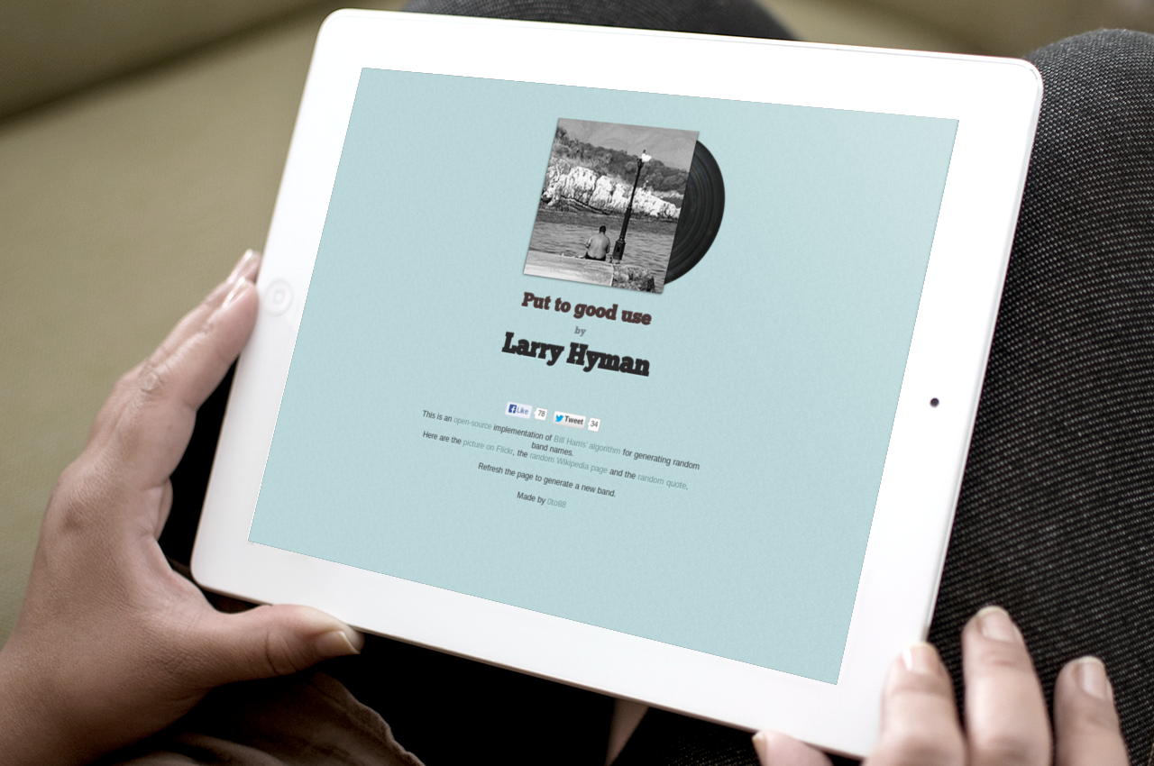 Hands holding an iPad that displays a made-up album: Put to good use by Larry Hyman.