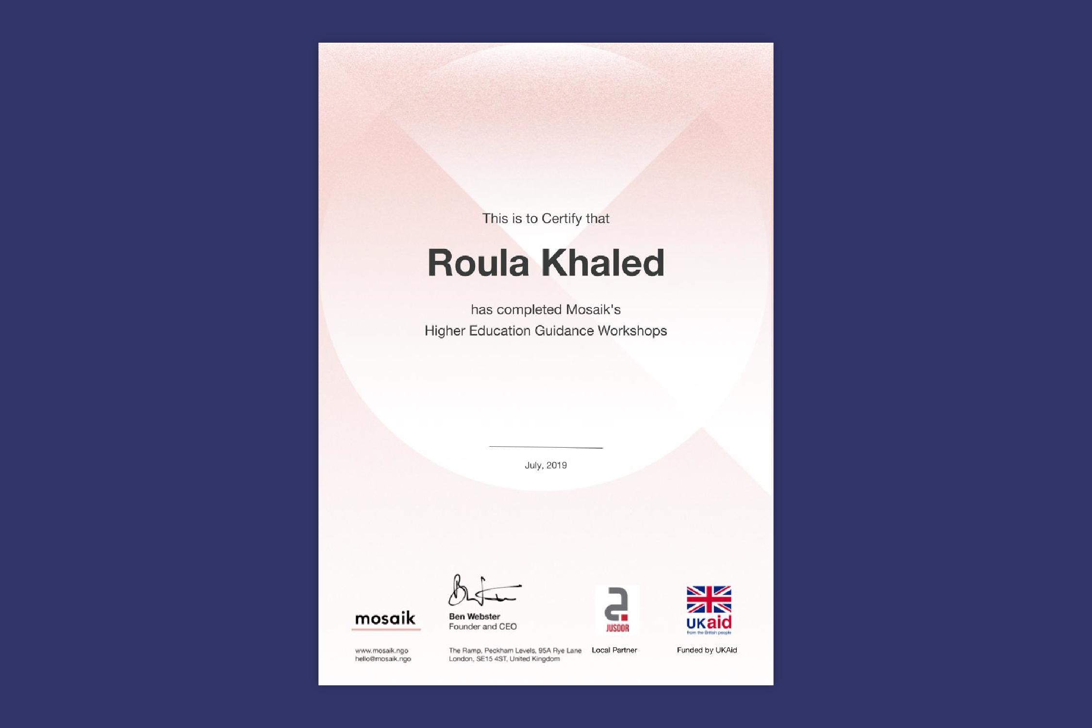 A certificate