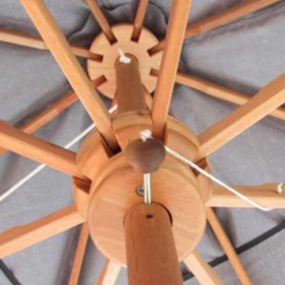 Detalhe de Ombrelone com haste central fixa detalhe armação