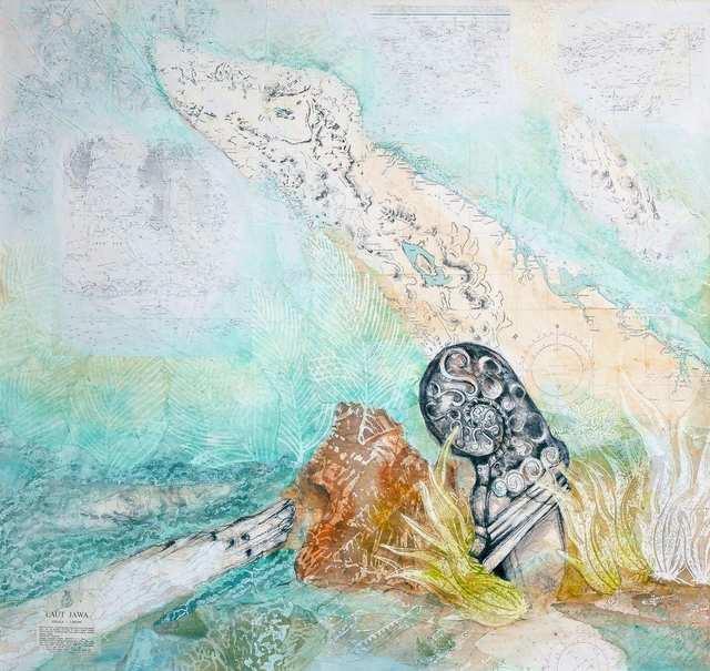 Java Atlas 1, charcoal acrylic marine charts collage on canvas