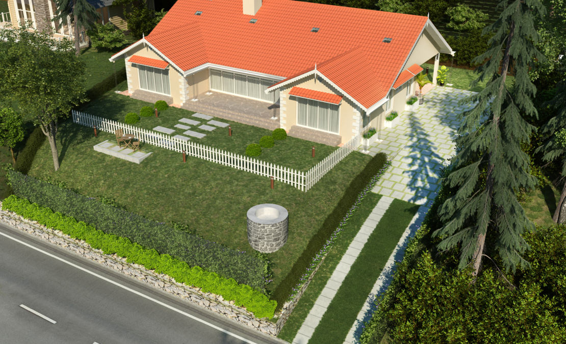 Birds eye view of the drive up and the garden of Tanmaya