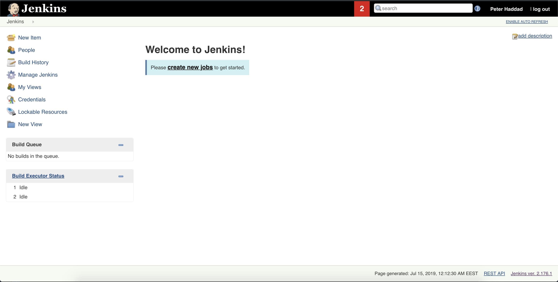 home page jenkins