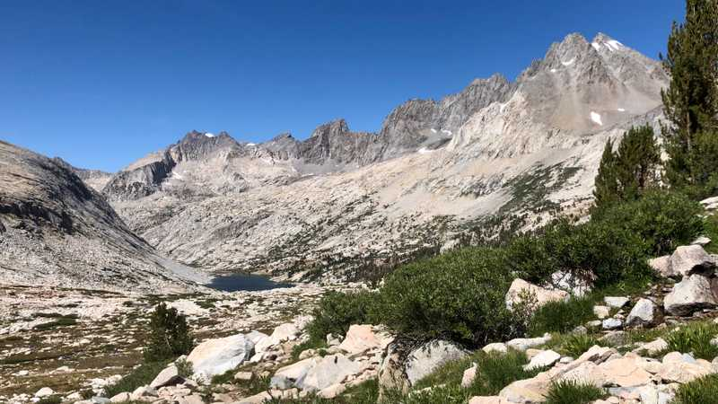 A view of Upper Palisade Lake, Middle Palisade, and Disappointment Peak