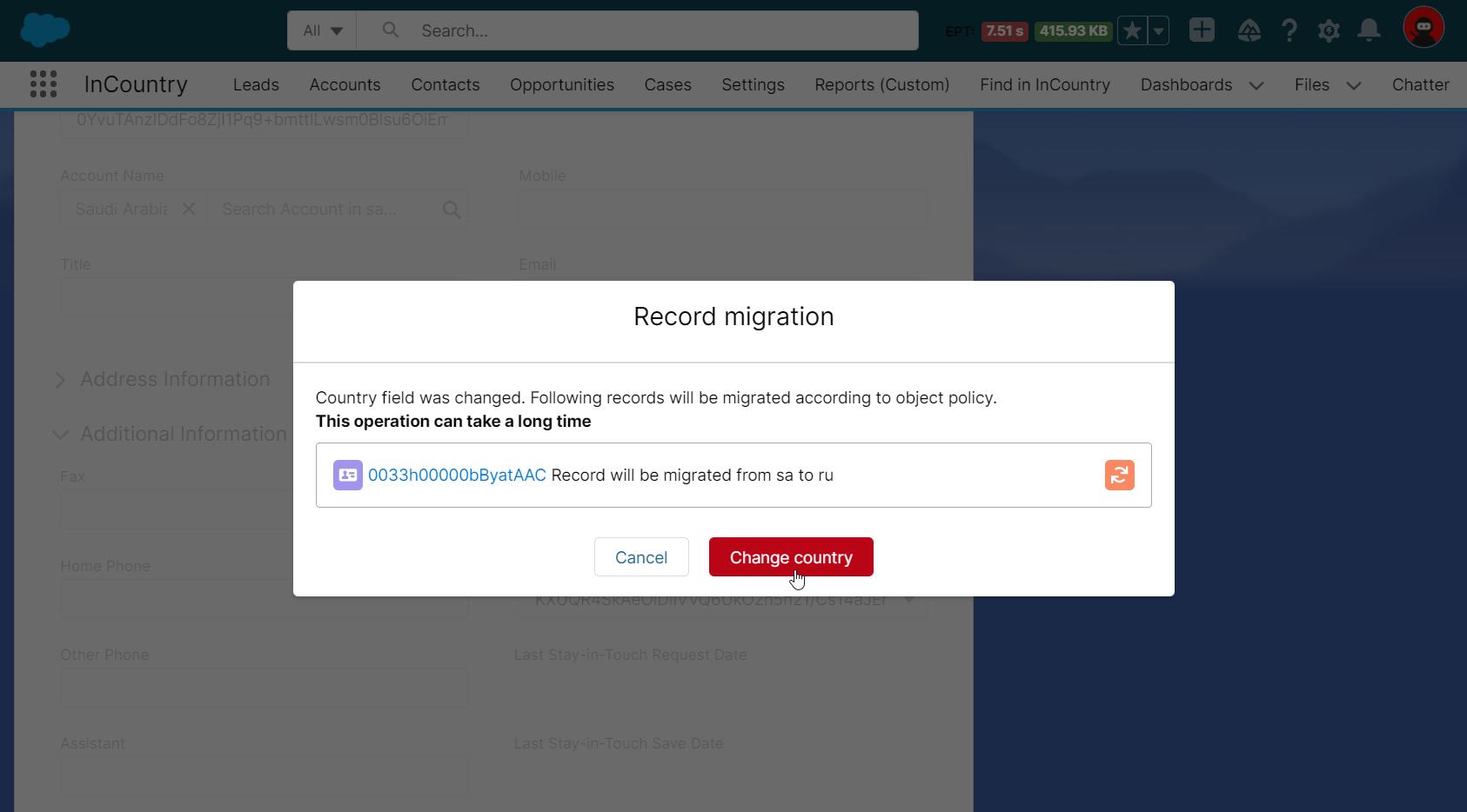 Record migration form - between