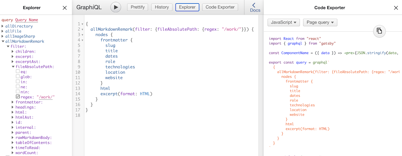 A screenshot of GraphiQL