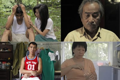 A collage of 4 different images, each featuring a different actor from the video 'Fables of Nusantara'.