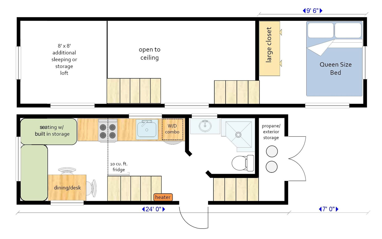 A 24+10' gooseneck tiny house floor plan from MitchCraft, with a large full head-height master bedroom.