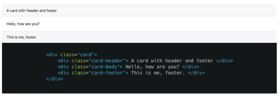 Bootstrap card header and footer