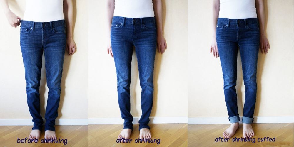 The before and after of shrinking jeans