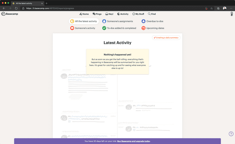 Screenshot of No activity in Basecamp for the web