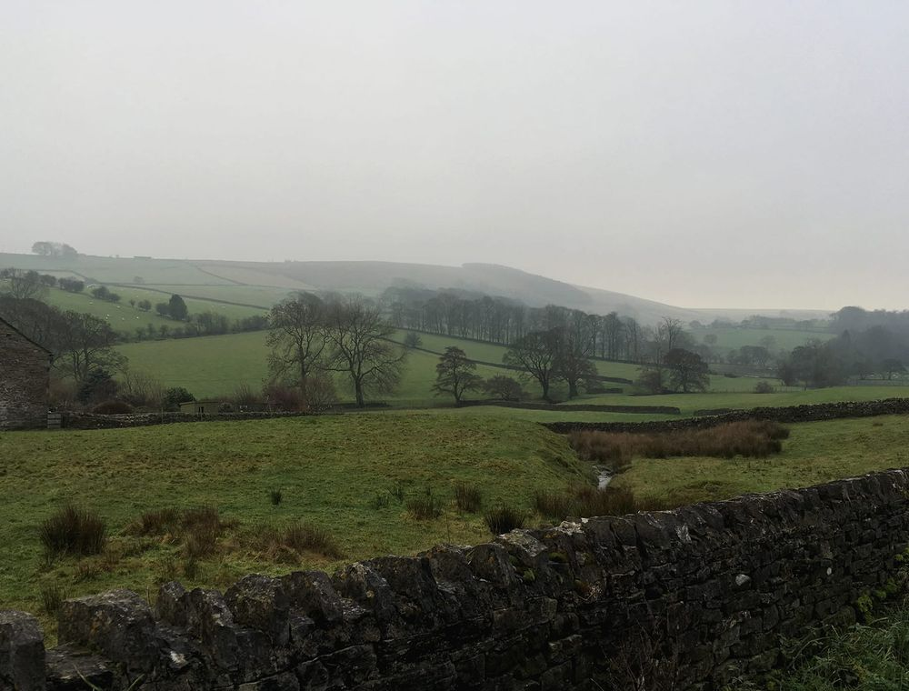 View of the countryside surrounding the rural north Yorkshire village of Lothersdale.