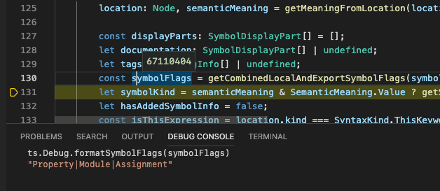 A screenshot of a VS Code debug session, paused inspecting a variable `symbolFlags`, which is a long, inscrutable number. The debug console is open showing the user typed the command, `ts.Debug.formatSymbolFlags(symbolFlags)`. The evaluation shows the string value `Property|Module|Assignment`.
