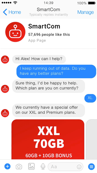Screenshot of a fictional telecom AI assistant