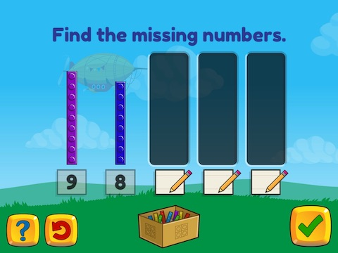 Stairsteps: Complete the pattern by adding or subtracting by 1's and 2's, within 10 Math Game