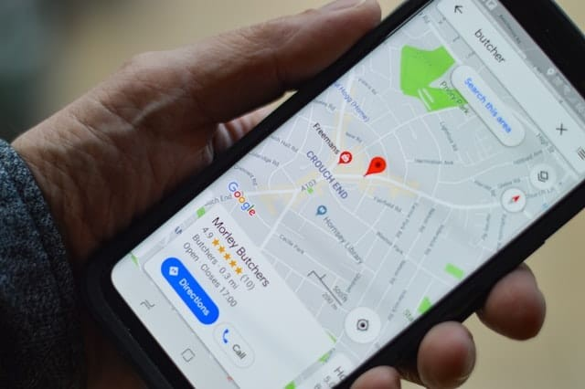 Phone showing google maps and local seo