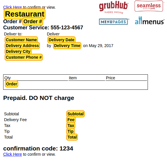 Parseur template created for Grubhub emails