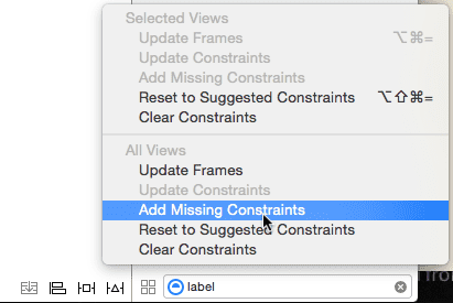 Add missing constraints menu
