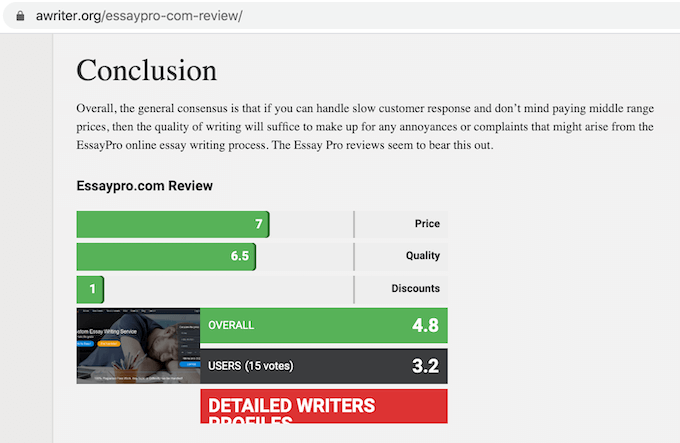 negative review about essaypro on awriter