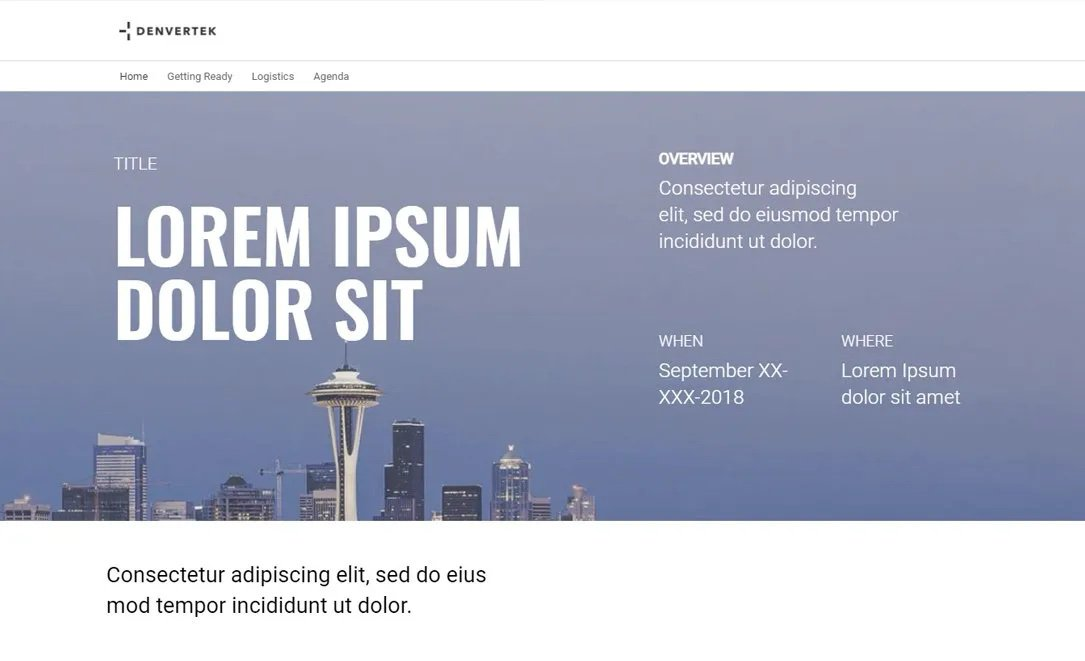 Screenshot of microsite template for Learning & Events