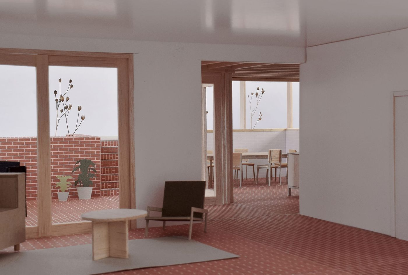 Internal view for From Work's stepped brick and timber rear extension.